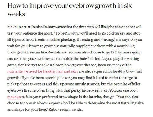 Denise Rabor's tips on eyebrow growth in Vogue India